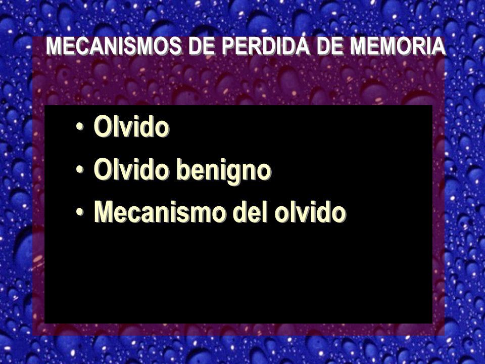 MECANISMOS DE PERDIDA DE MEMORIA