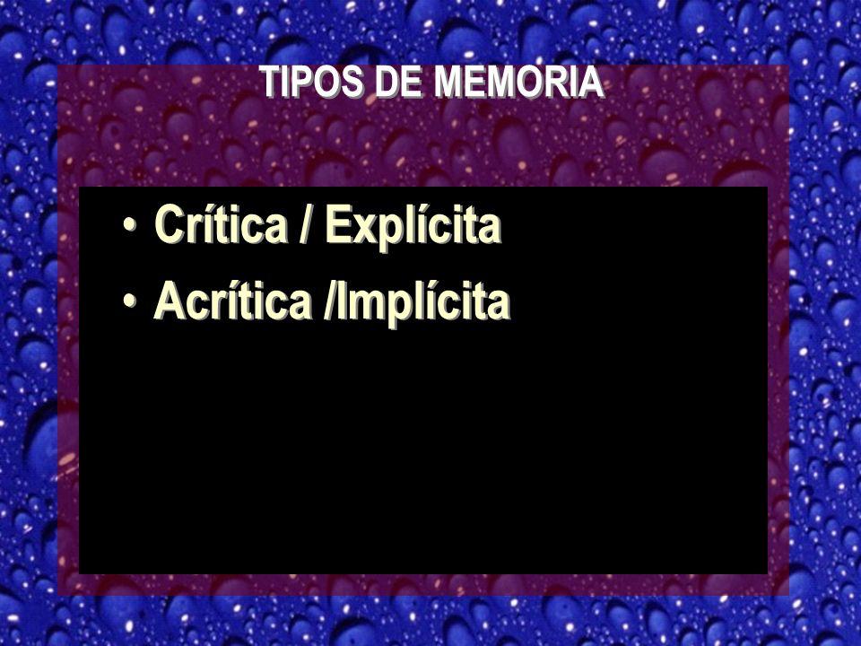 TIPOS DE MEMORIA Crítica / Explícita Acrítica /Implícita