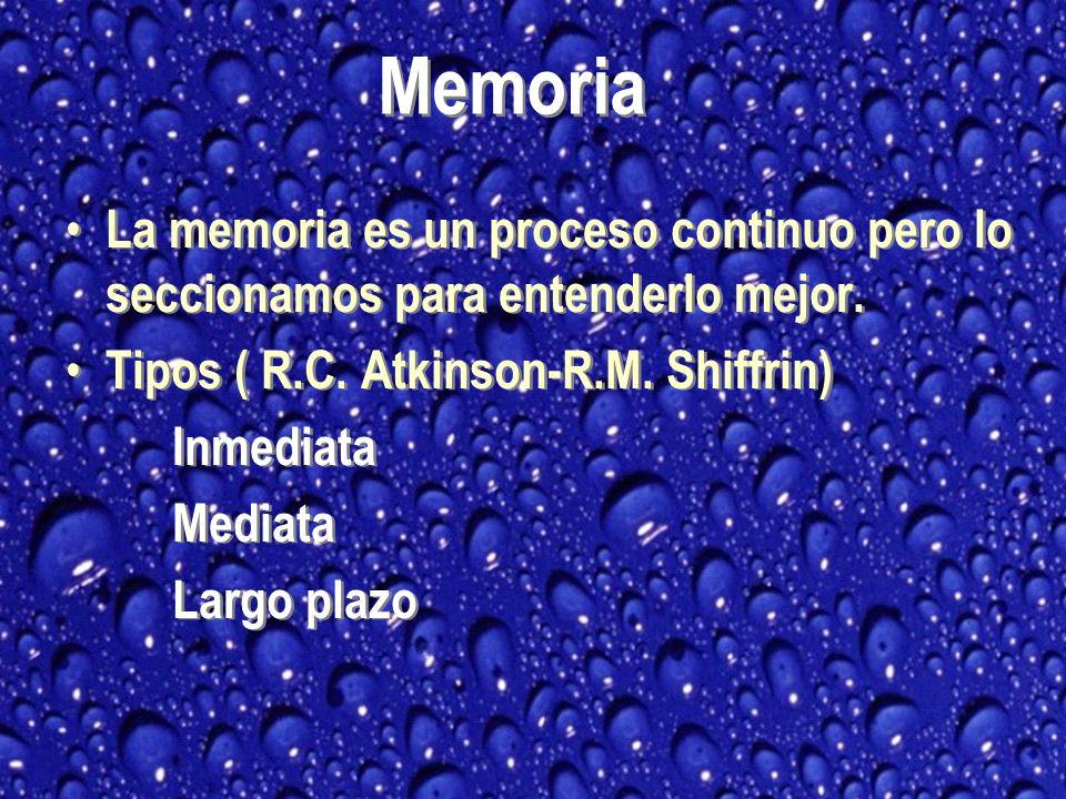 Memoria La memoria es un proceso continuo pero lo seccionamos para entenderlo mejor. Tipos ( R.C. Atkinson-R.M. Shiffrin)