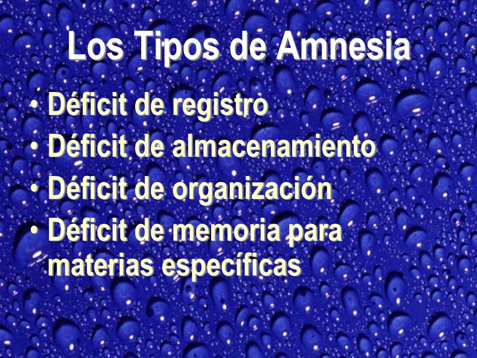 Los Tipos de Amnesia Déficit de registro Déficit de almacenamiento