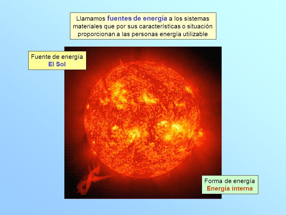 Llamamos fuentes de energía a los sistemas materiales que por sus características o situación proporcionan a las personas energía utilizable