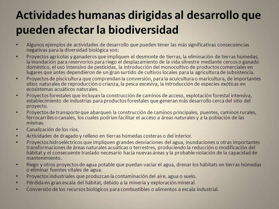 Actividades humanas dirigidas al desarrollo que pueden afectar la biodiversidad