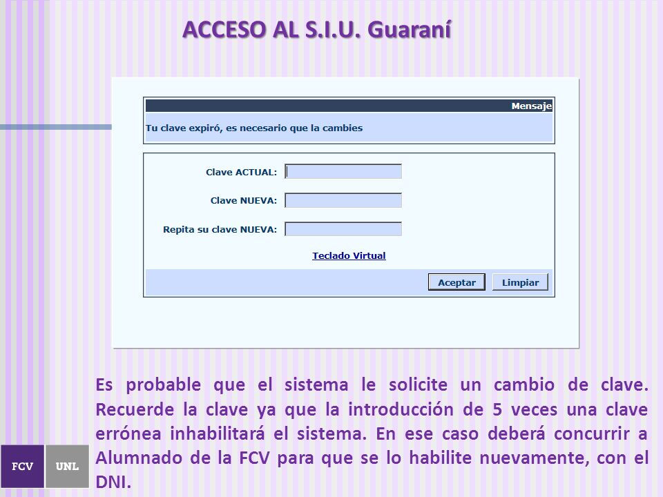 ACCESO AL S.I.U. Guaraní