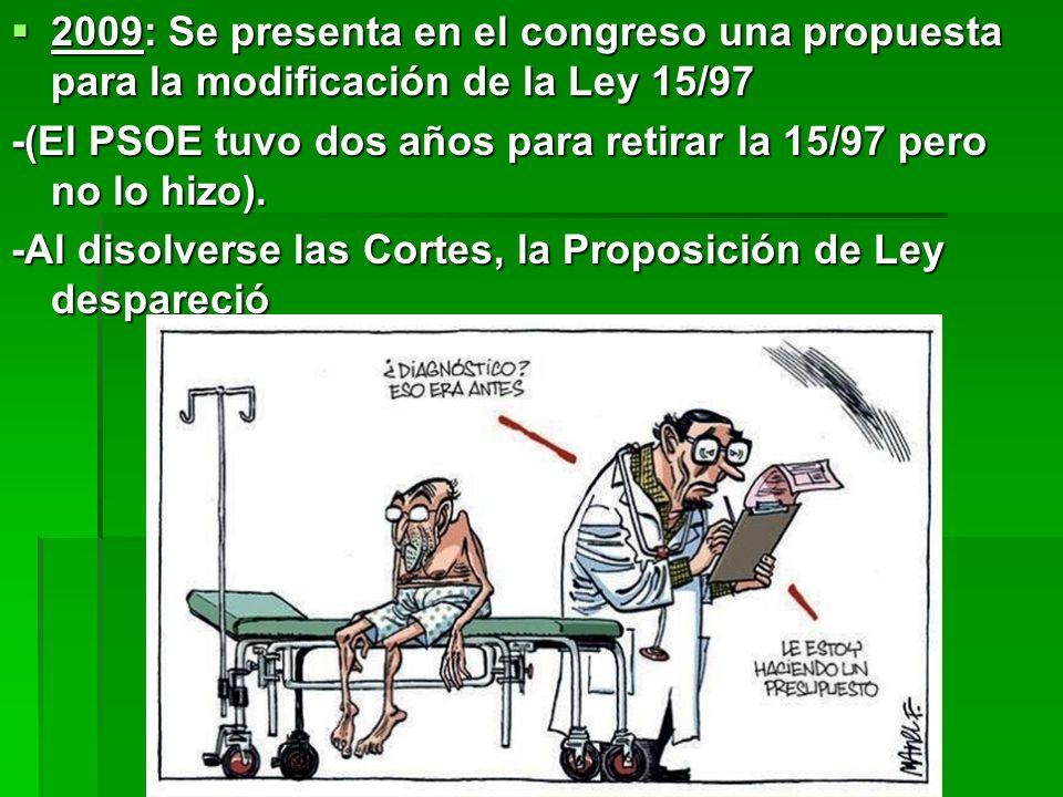 2009: Se presenta en el congreso una propuesta para la modificación de la Ley 15/97