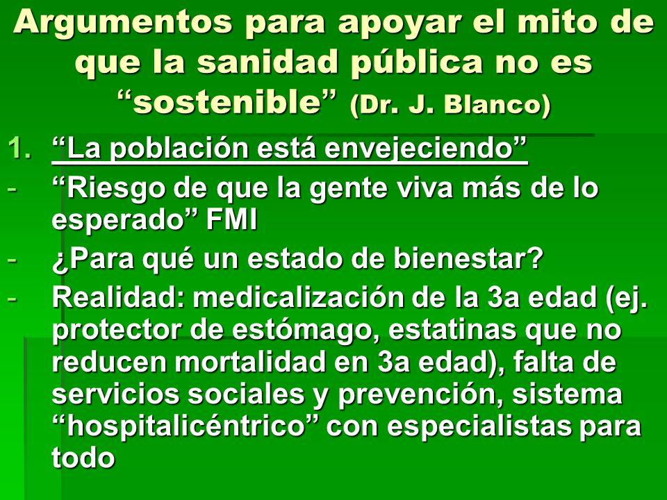 Argumentos para apoyar el mito de que la sanidad pública no es sostenible (Dr. J. Blanco)
