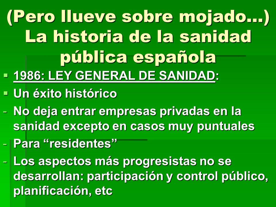 (Pero llueve sobre mojado…) La historia de la sanidad pública española