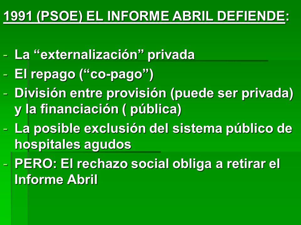 1991 (PSOE) EL INFORME ABRIL DEFIENDE: