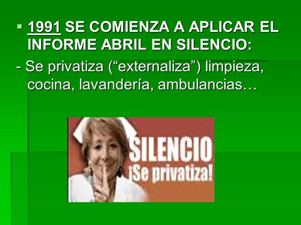 1991 SE COMIENZA A APLICAR EL INFORME ABRIL EN SILENCIO: