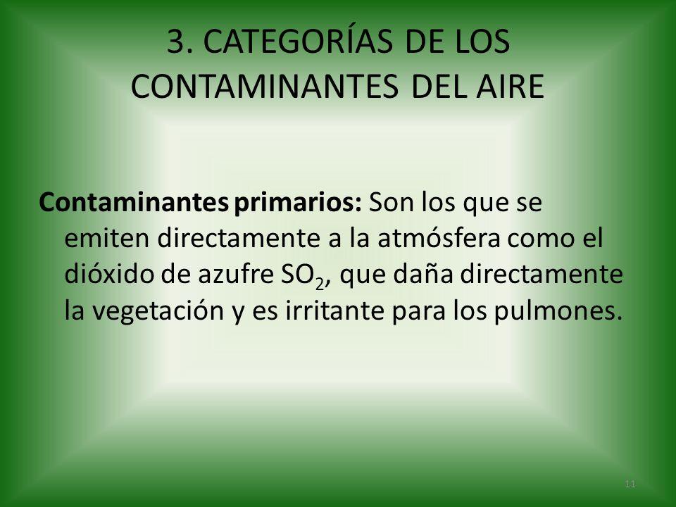 3. CATEGORÍAS DE LOS CONTAMINANTES DEL AIRE