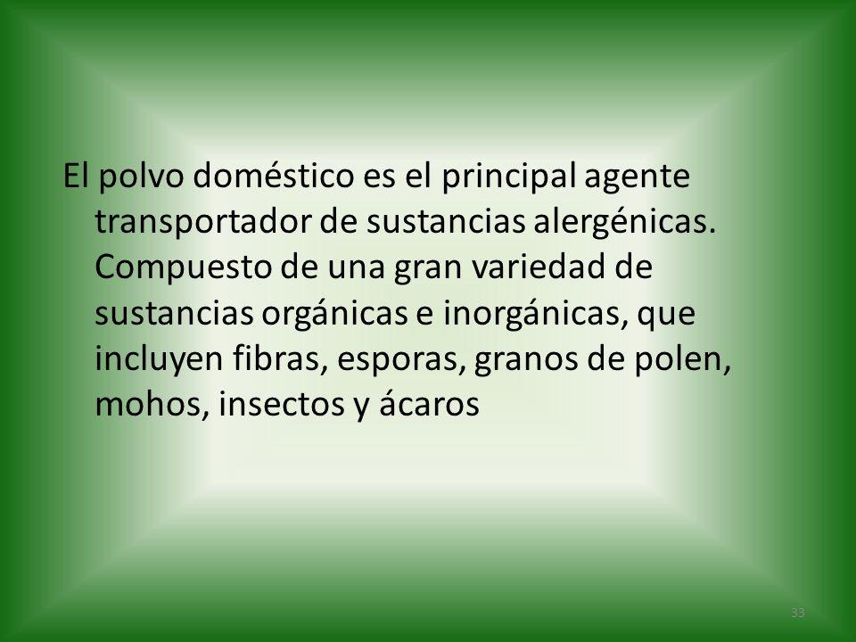 El polvo doméstico es el principal agente transportador de sustancias alergénicas.