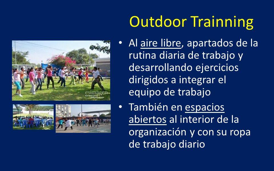 Outdoor Trainning Al aire libre, apartados de la rutina diaria de trabajo y desarrollando ejercicios dirigidos a integrar el equipo de trabajo.