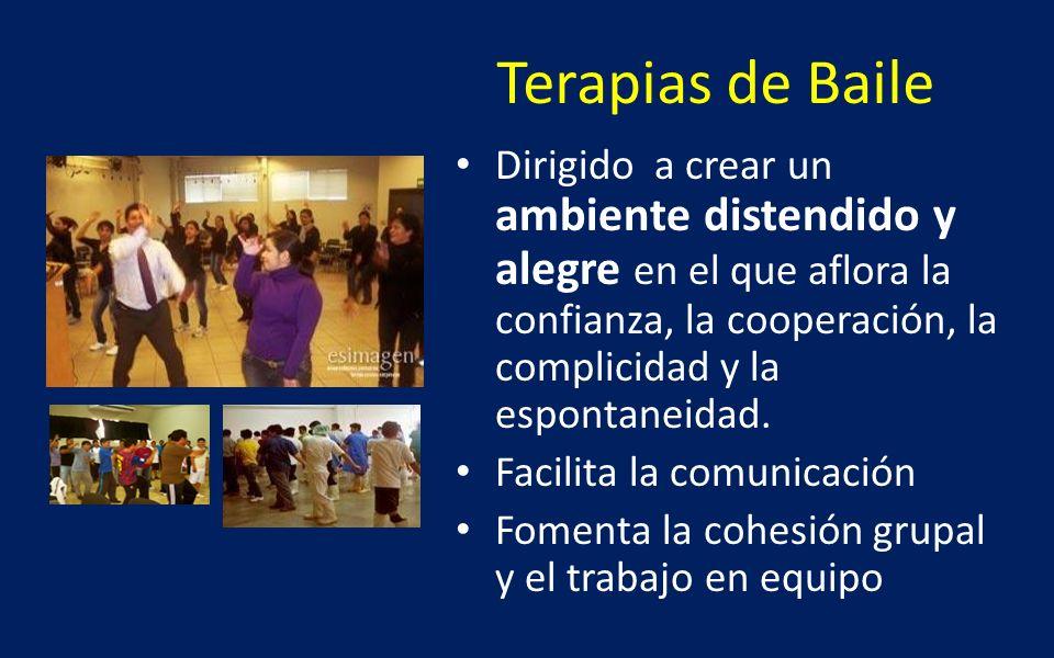 Terapias de Baile Dirigido a crear un ambiente distendido y alegre en el que aflora la confianza, la cooperación, la complicidad y la espontaneidad.