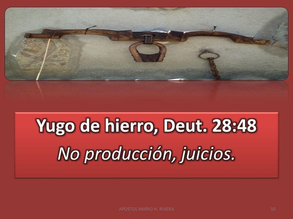 Yugo de hierro, Deut. 28:48 No producción, juicios.
