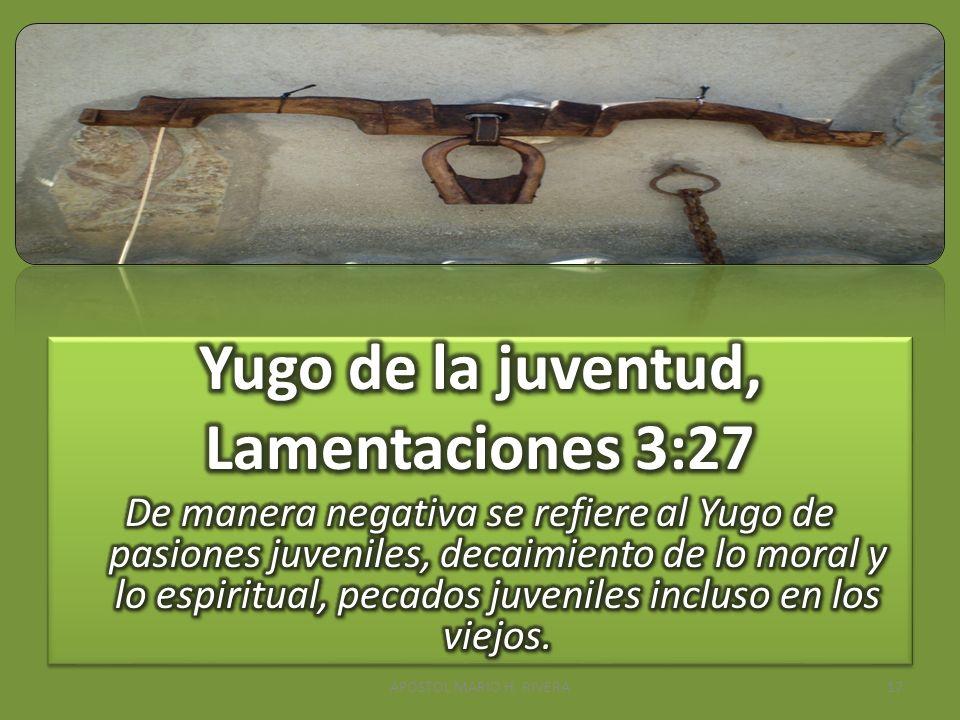 Yugo de la juventud, Lamentaciones 3:27