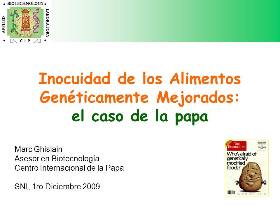Inocuidad de los Alimentos Genéticamente Mejorados: el caso de la papa