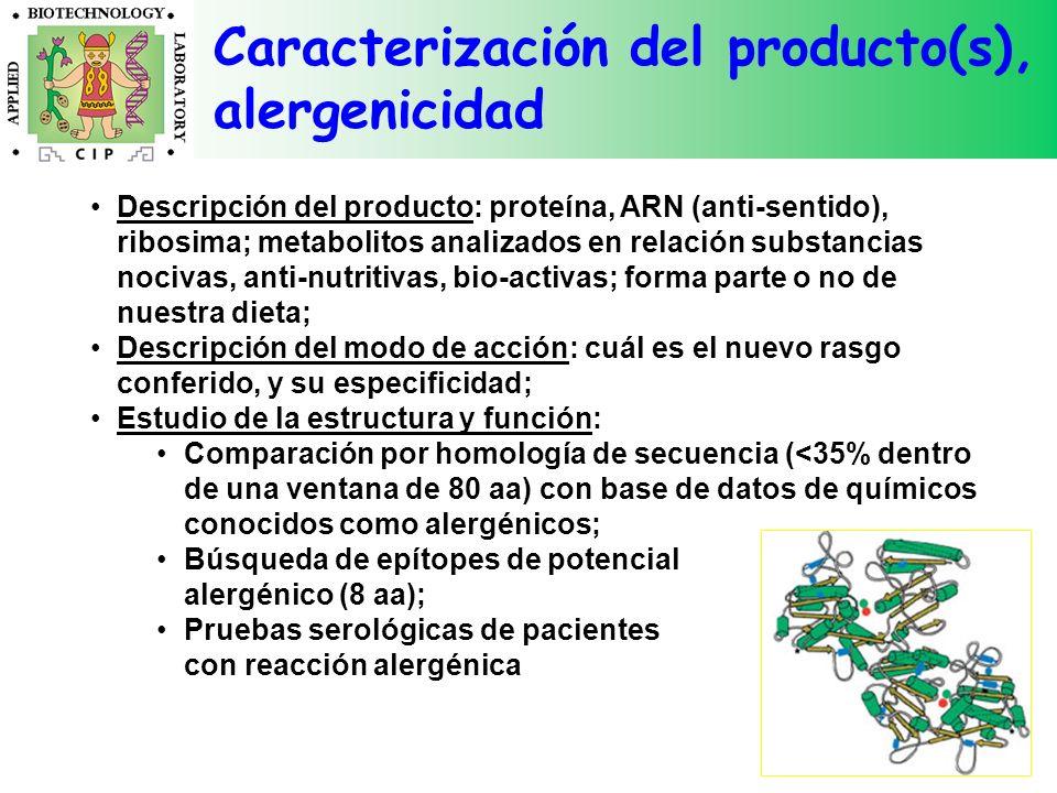 Caracterización del producto(s), alergenicidad