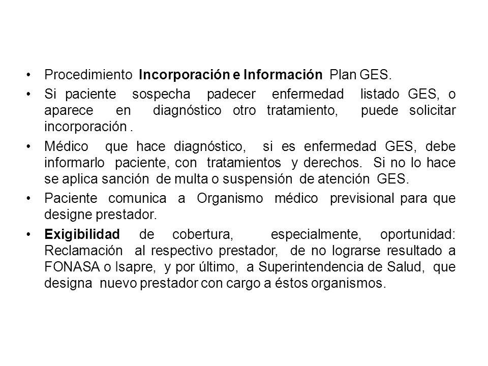 Procedimiento Incorporación e Información Plan GES.