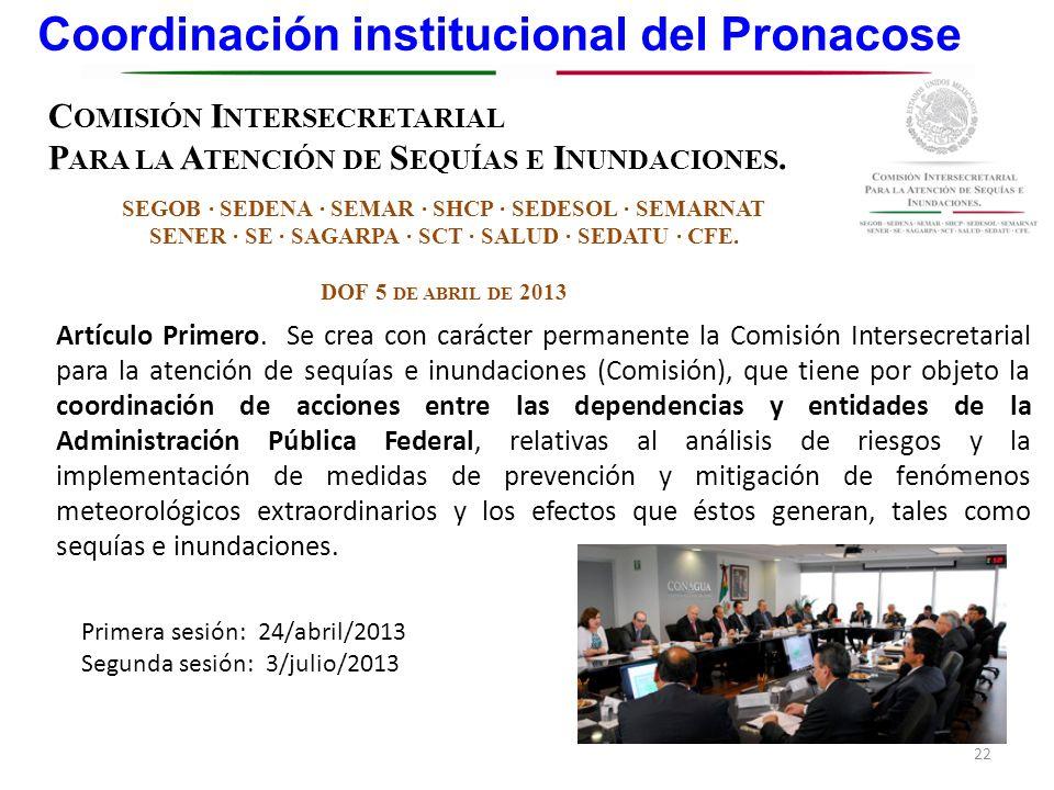 Coordinación institucional del Pronacose