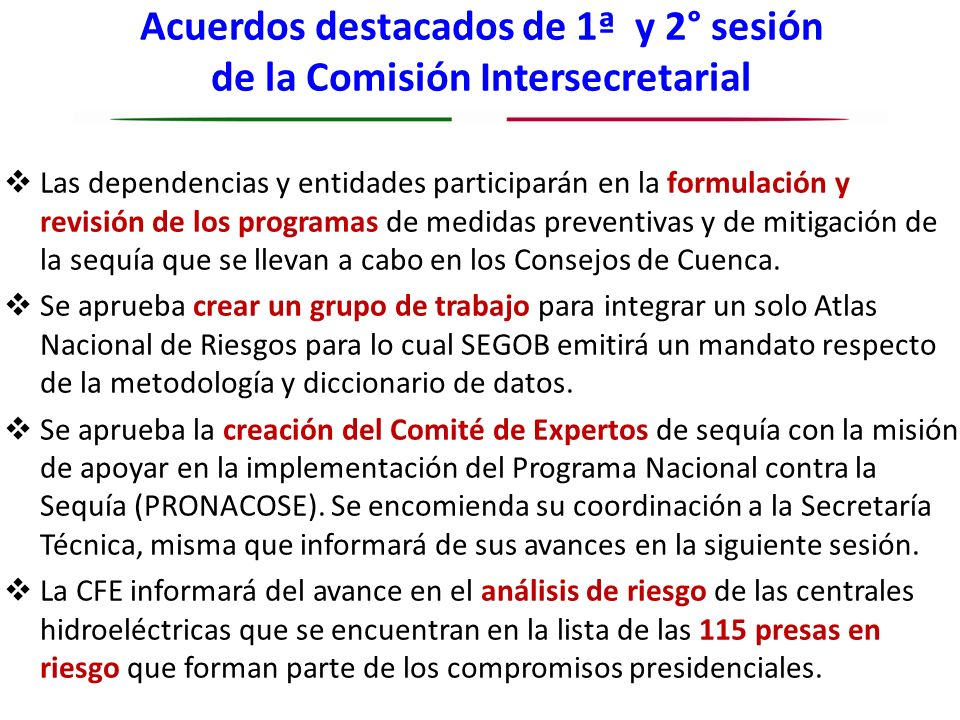 Acuerdos destacados de 1ª y 2° sesión de la Comisión Intersecretarial