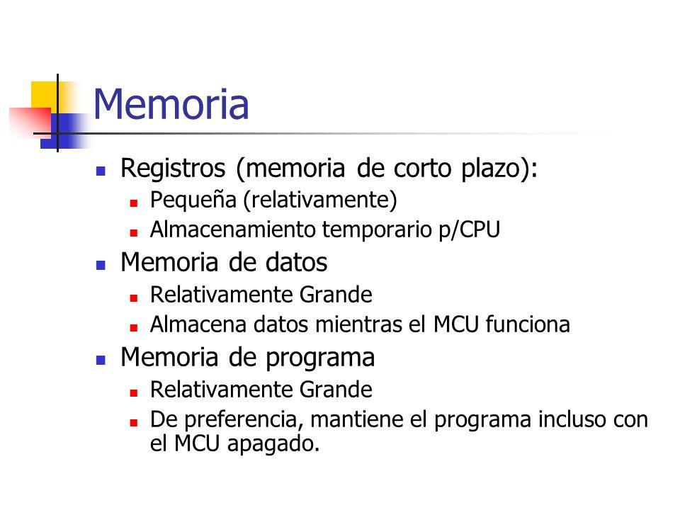 Memoria Registros (memoria de corto plazo): Memoria de datos