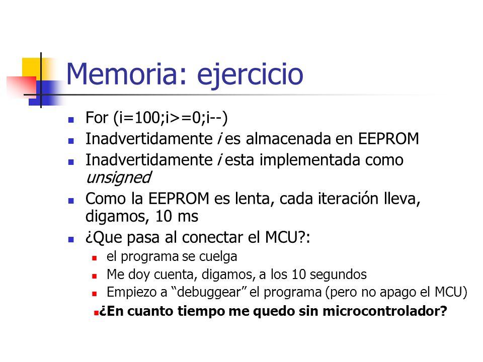 Memoria: ejercicio For (i=100;i>=0;i--)