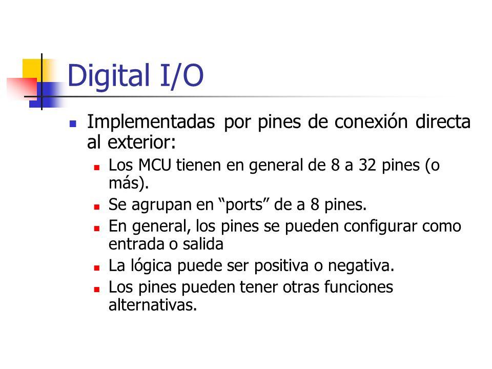 Digital I/O Implementadas por pines de conexión directa al exterior: