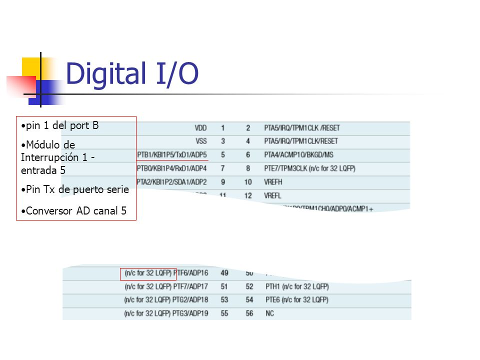 Digital I/O pin 1 del port B Módulo de Interrupción 1 - entrada 5