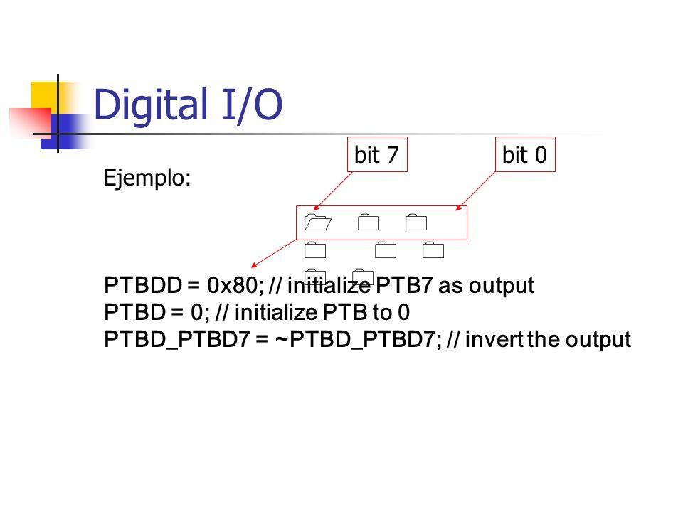 Digital I/O bit 7 bit 0 Ejemplo: 1 0 0 0 0 0 0 0