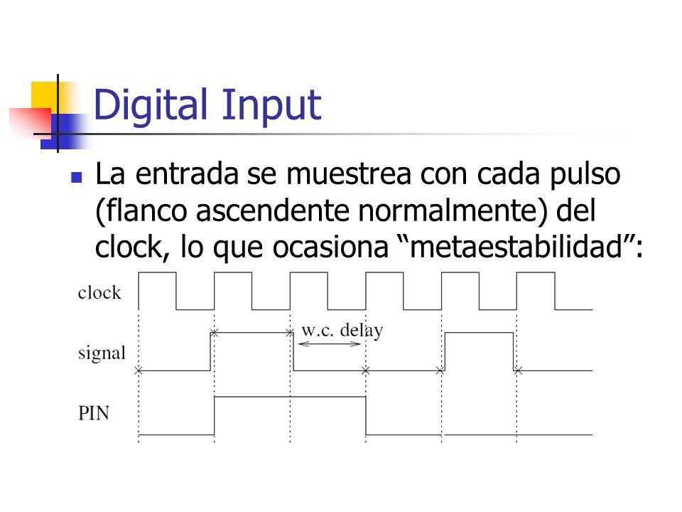 Digital Input La entrada se muestrea con cada pulso (flanco ascendente normalmente) del clock, lo que ocasiona metaestabilidad :