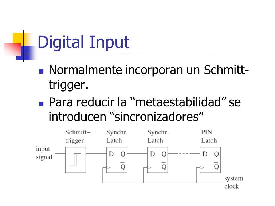 Digital Input Normalmente incorporan un Schmitt-trigger.