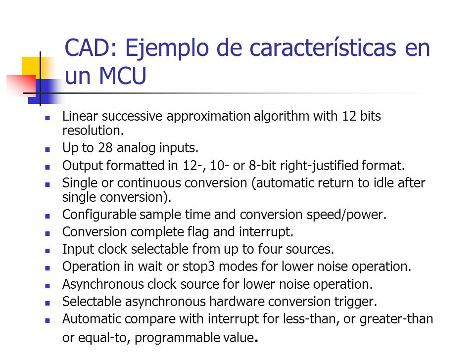 CAD: Ejemplo de características en un MCU
