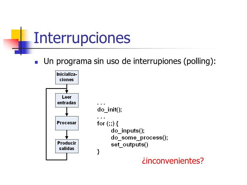 Interrupciones Un programa sin uso de interrupiones (polling):
