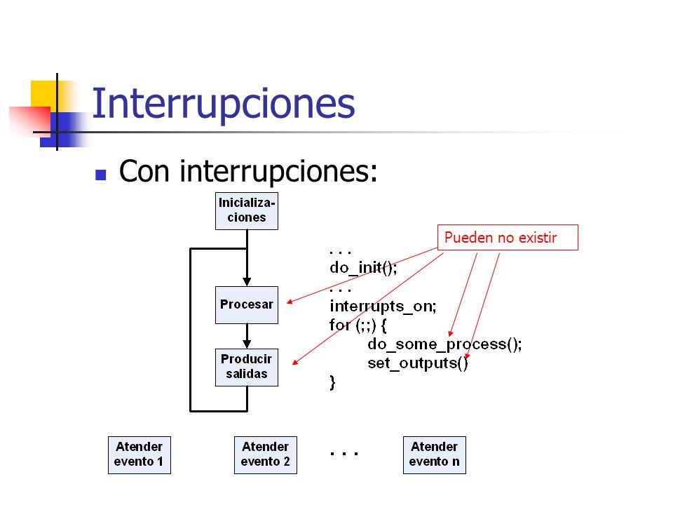 Interrupciones Con interrupciones: Pueden no existir