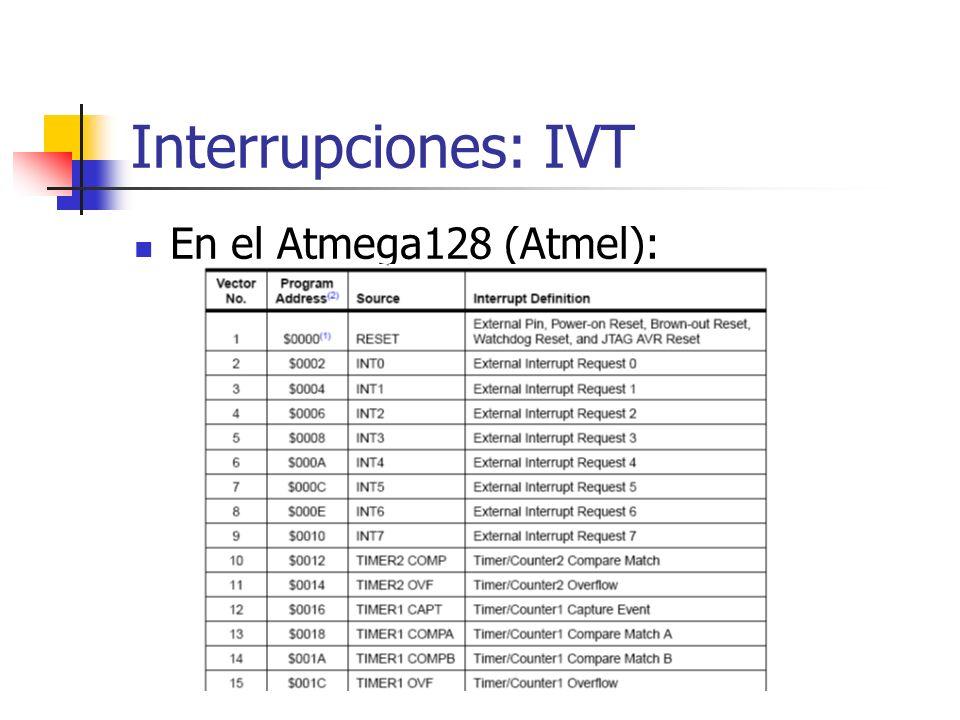 Interrupciones: IVT En el Atmega128 (Atmel):