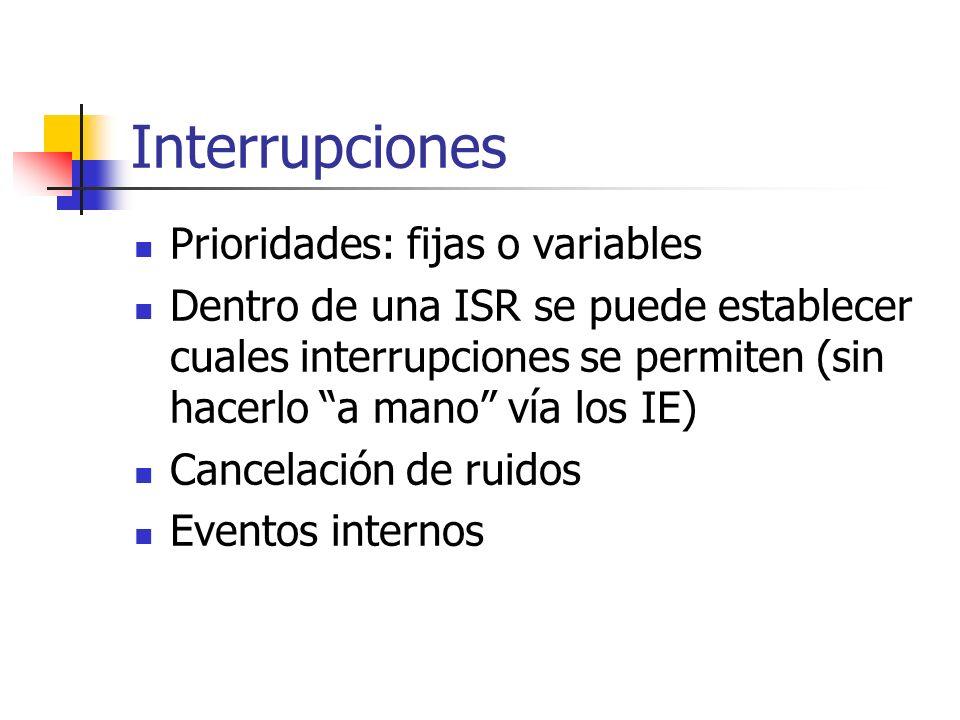 Interrupciones Prioridades: fijas o variables