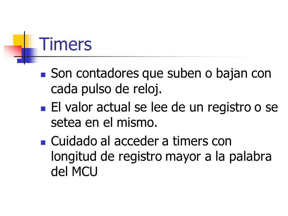 Timers Son contadores que suben o bajan con cada pulso de reloj.