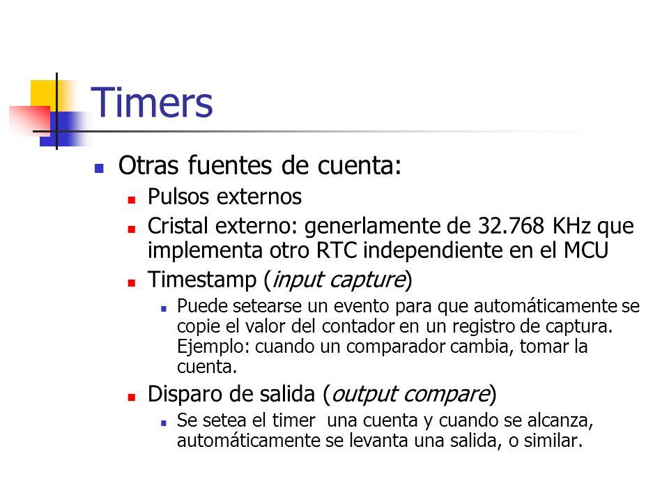 Timers Otras fuentes de cuenta: Pulsos externos