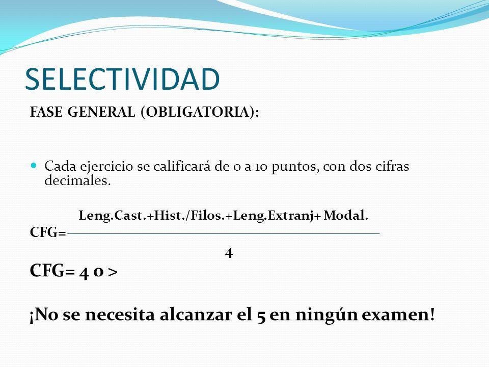 SELECTIVIDAD CFG= 4 o >