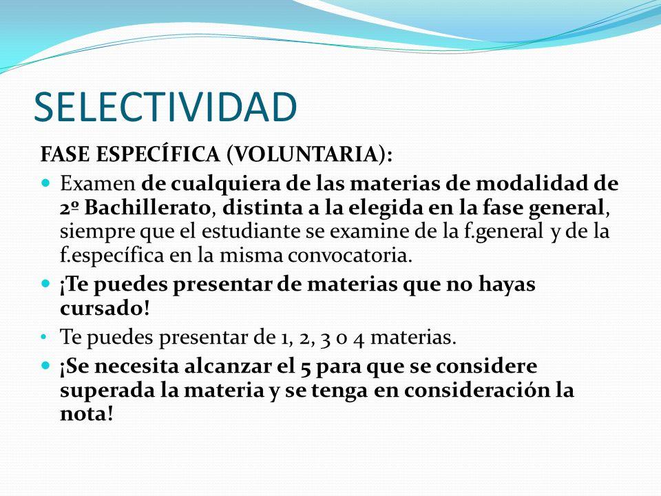 SELECTIVIDAD FASE ESPECÍFICA (VOLUNTARIA):