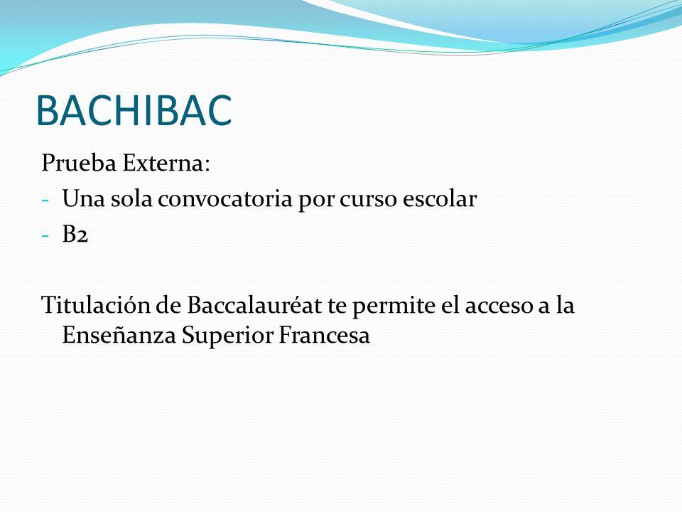 BACHIBAC Prueba Externa: Una sola convocatoria por curso escolar B2