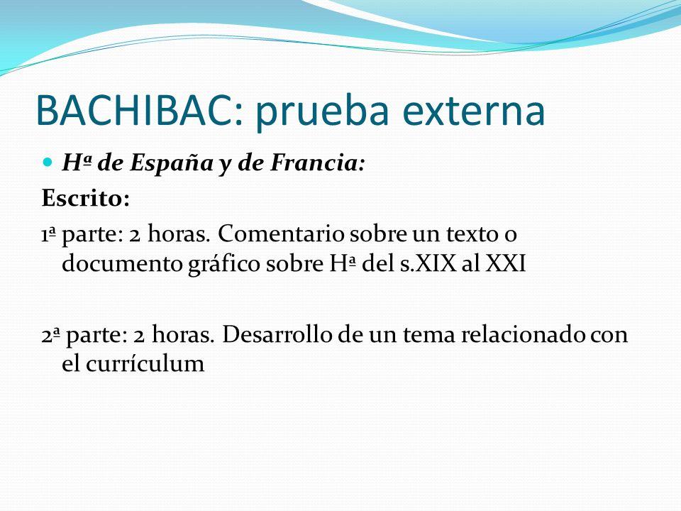 BACHIBAC: prueba externa