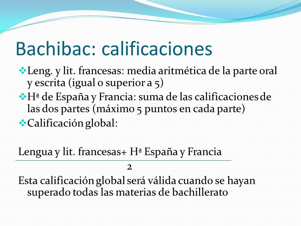 Bachibac: calificaciones