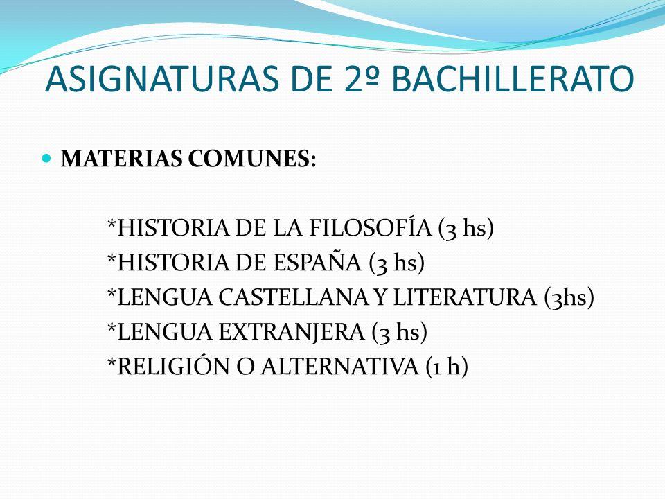 ASIGNATURAS DE 2º BACHILLERATO
