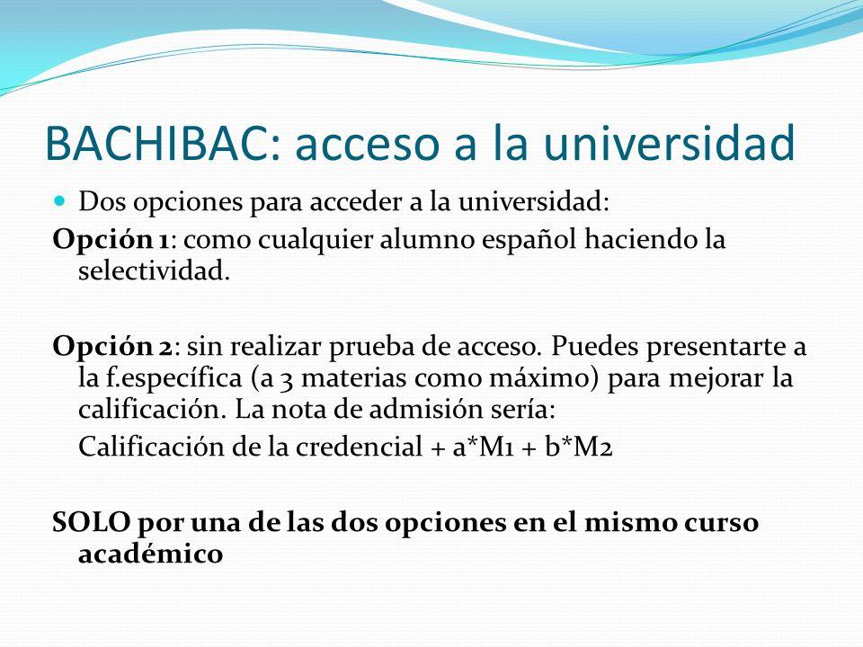 BACHIBAC: acceso a la universidad