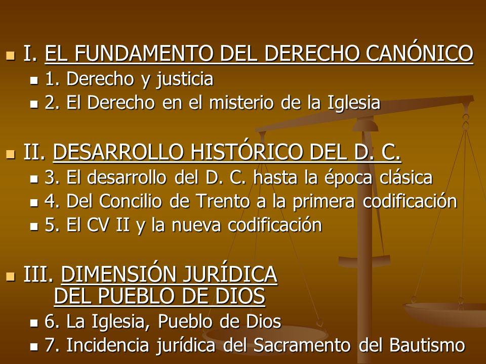 I. EL FUNDAMENTO DEL DERECHO CANÓNICO
