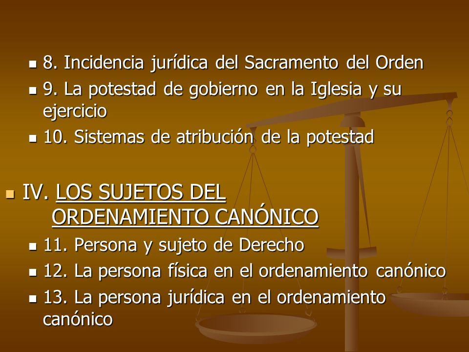 IV. LOS SUJETOS DEL ORDENAMIENTO CANÓNICO