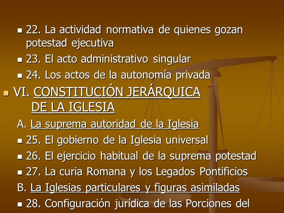 VI. CONSTITUCIÓN JERÁRQUICA DE LA IGLESIA