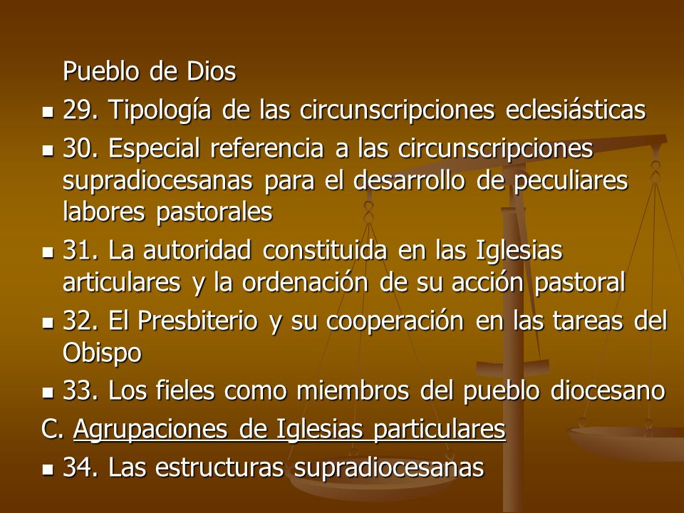 Pueblo de Dios29. Tipología de las circunscripciones eclesiásticas.