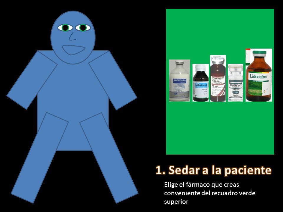 1. Sedar a la paciente Elige el fármaco que creas conveniente del recuadro verde superior