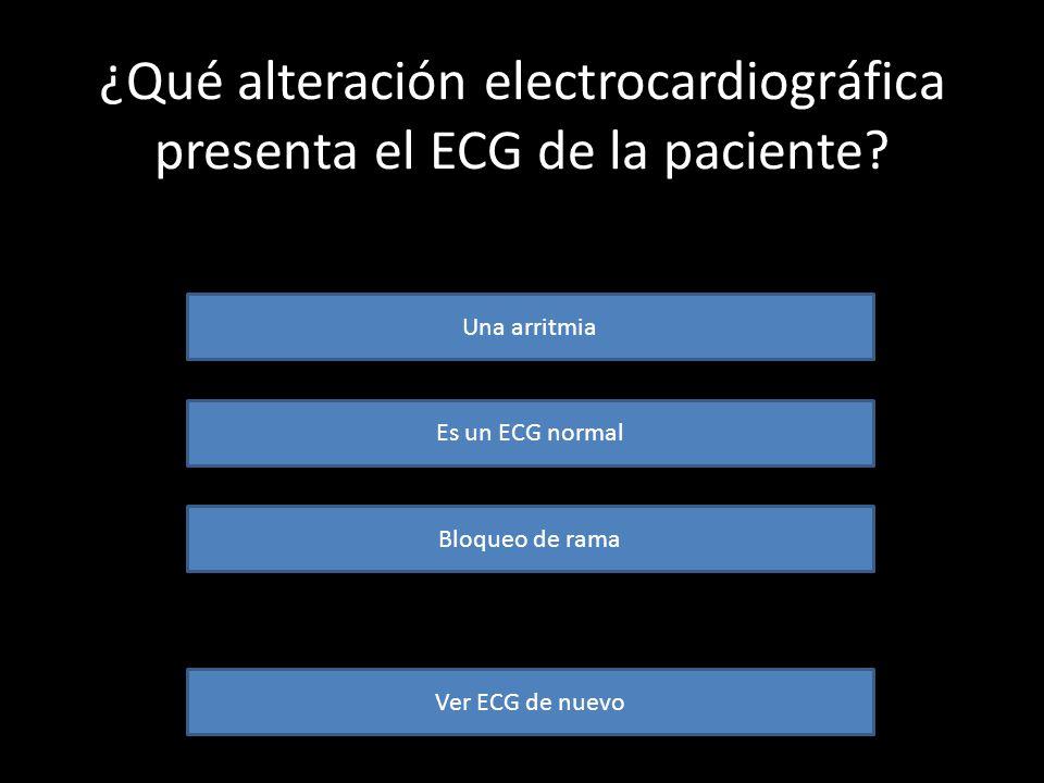 ¿Qué alteración electrocardiográfica presenta el ECG de la paciente